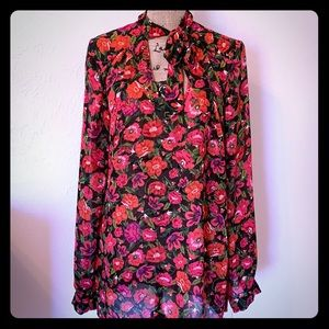 Long Tall Sally Sheer Floral Blouse